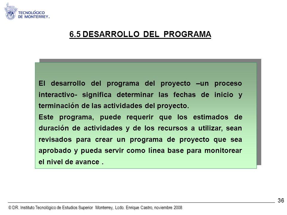 6.5 DESARROLLO DEL PROGRAMA