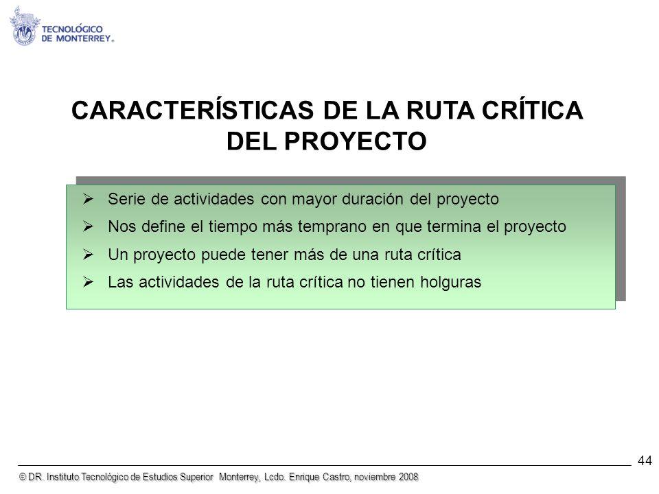 CARACTERÍSTICAS DE LA RUTA CRÍTICA DEL PROYECTO