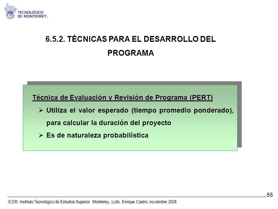 6.5.2. TÉCNICAS PARA EL DESARROLLO DEL PROGRAMA