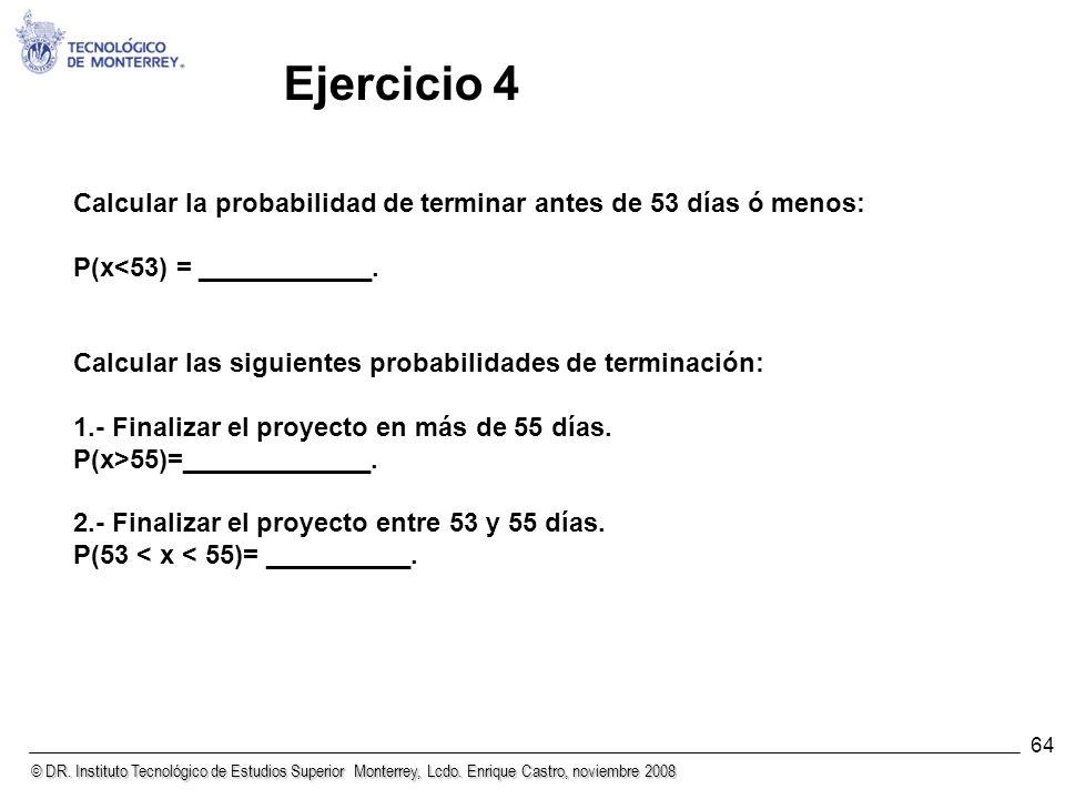Ejercicio 4 Calcular la probabilidad de terminar antes de 53 días ó menos: P(x<53) = ____________.