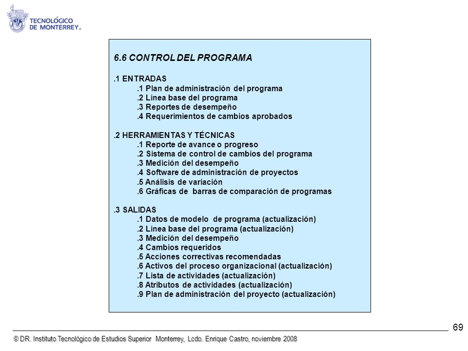 6.6 CONTROL DEL PROGRAMA 69 .1 ENTRADAS