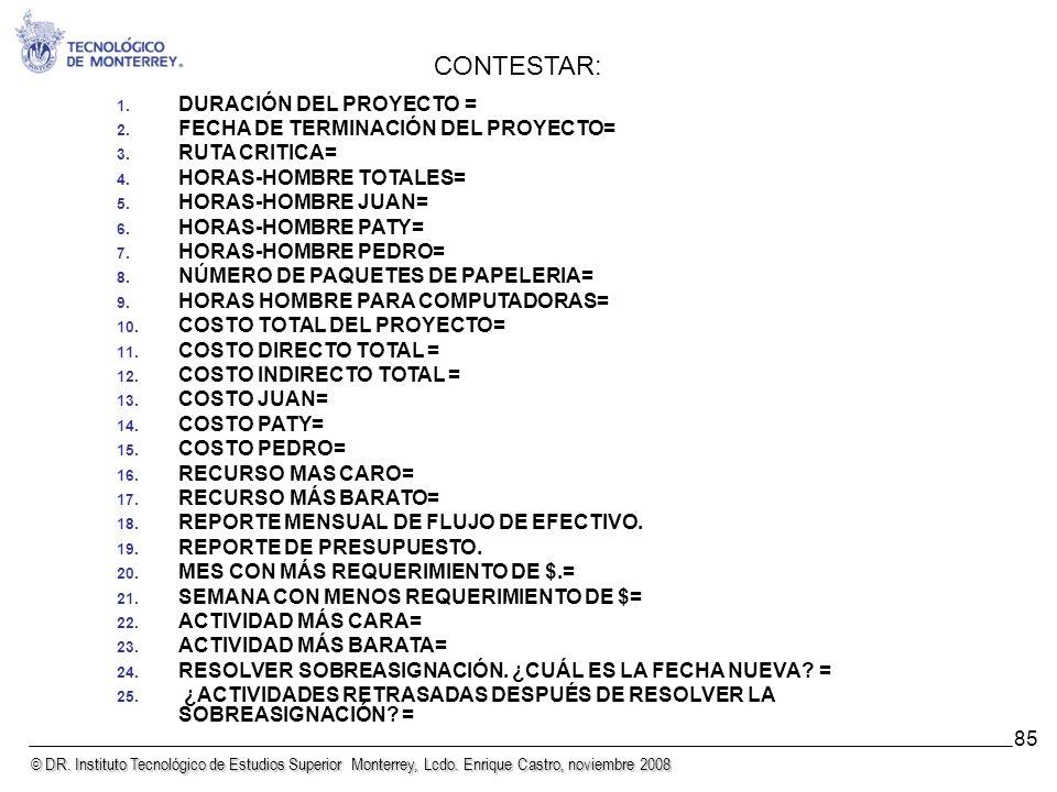 CONTESTAR: DURACIÓN DEL PROYECTO = FECHA DE TERMINACIÓN DEL PROYECTO=
