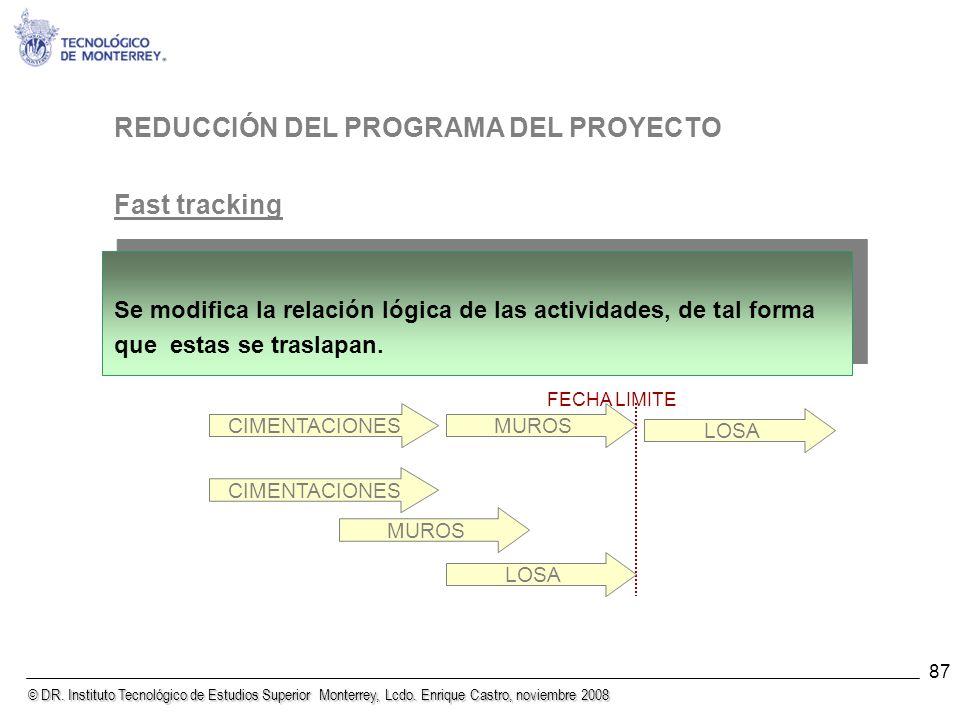 REDUCCIÓN DEL PROGRAMA DEL PROYECTO Fast tracking