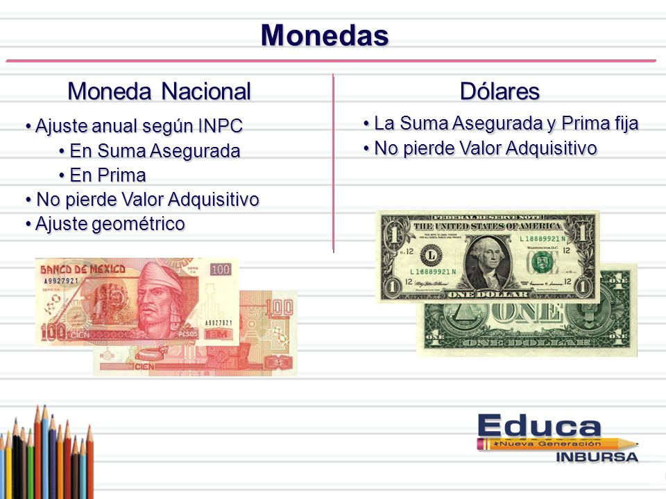 Monedas Moneda Nacional Dólares La Suma Asegurada y Prima fija