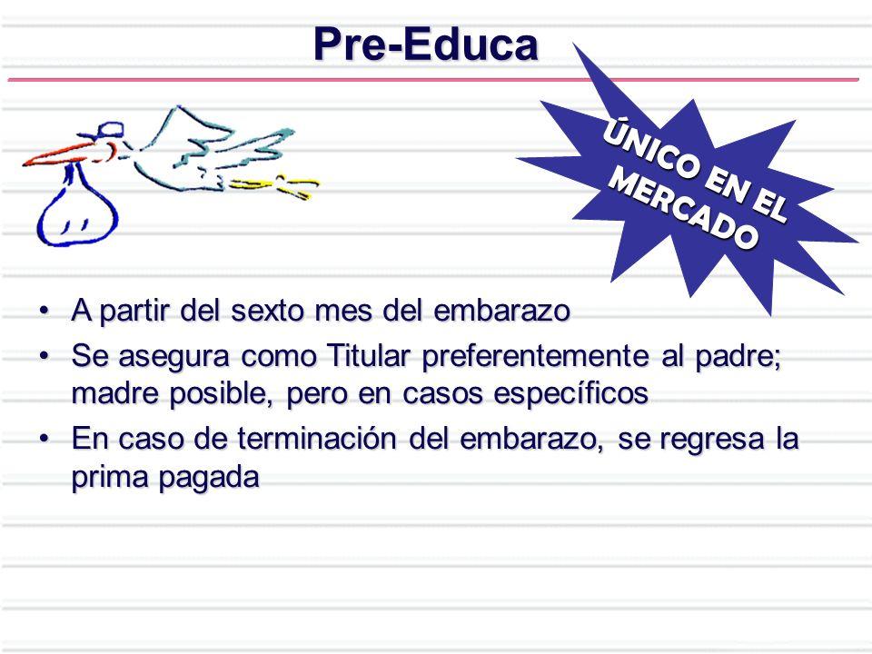 Pre-Educa ÚNICO EN EL MERCADO A partir del sexto mes del embarazo