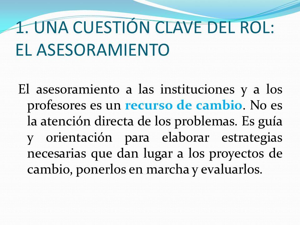 1. UNA CUESTIÓN CLAVE DEL ROL: EL ASESORAMIENTO
