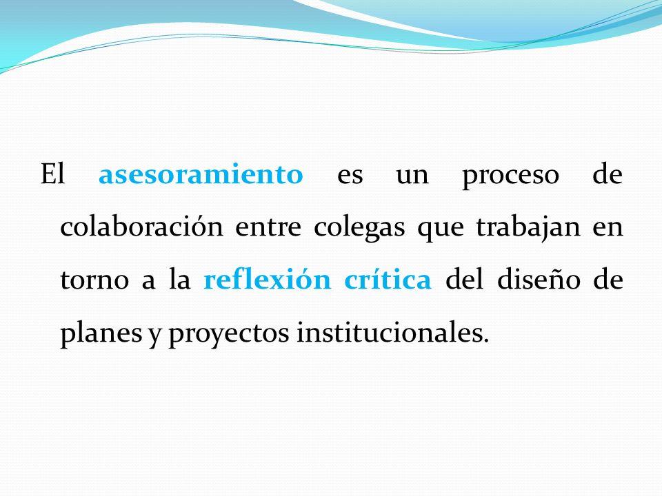 El asesoramiento es un proceso de colaboración entre colegas que trabajan en torno a la reflexión crítica del diseño de planes y proyectos institucionales.