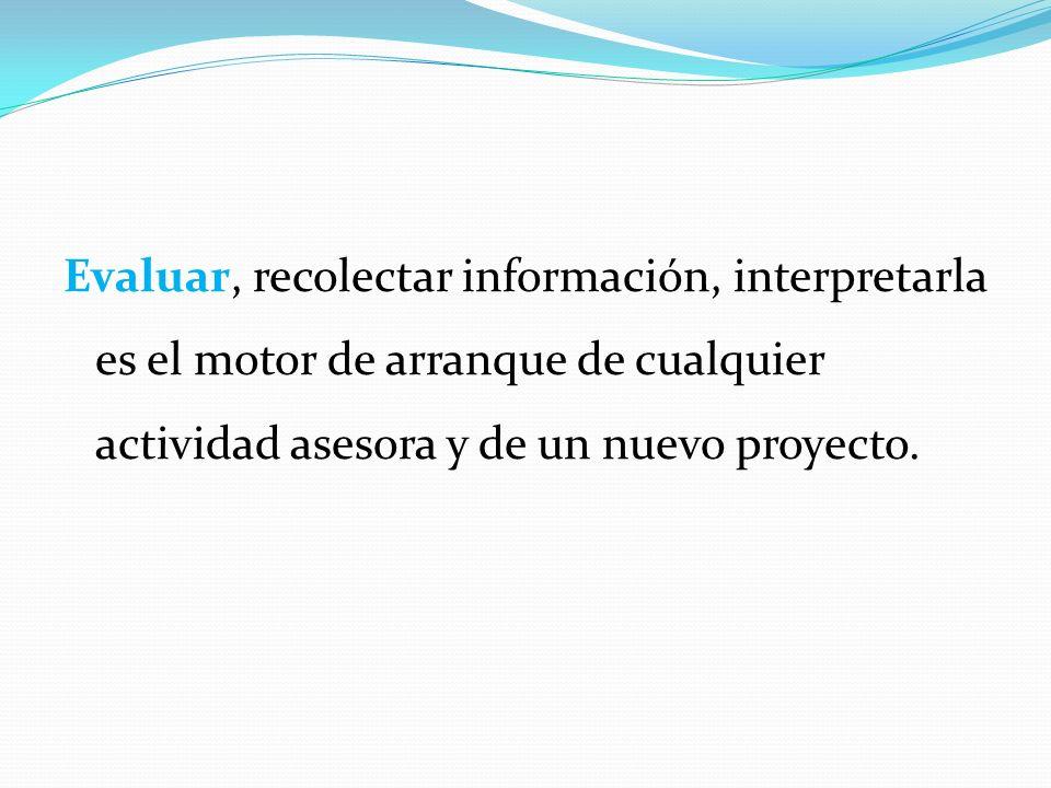 Evaluar, recolectar información, interpretarla es el motor de arranque de cualquier actividad asesora y de un nuevo proyecto.