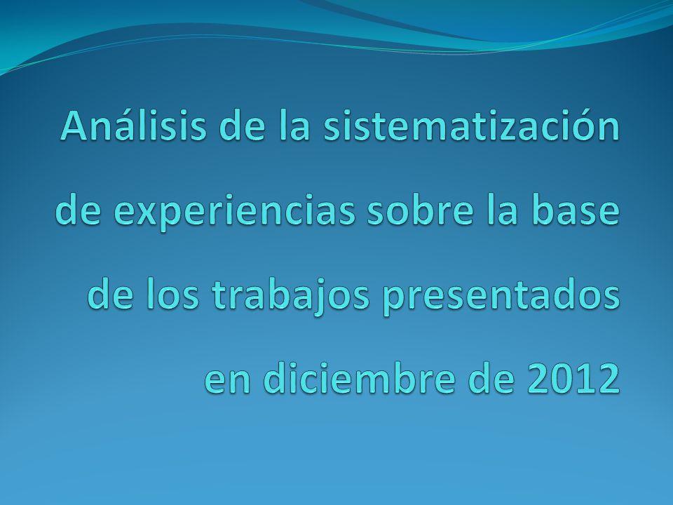Análisis de la sistematización de experiencias sobre la base de los trabajos presentados en diciembre de 2012
