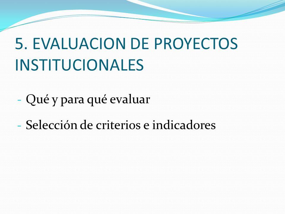5. EVALUACION DE PROYECTOS INSTITUCIONALES