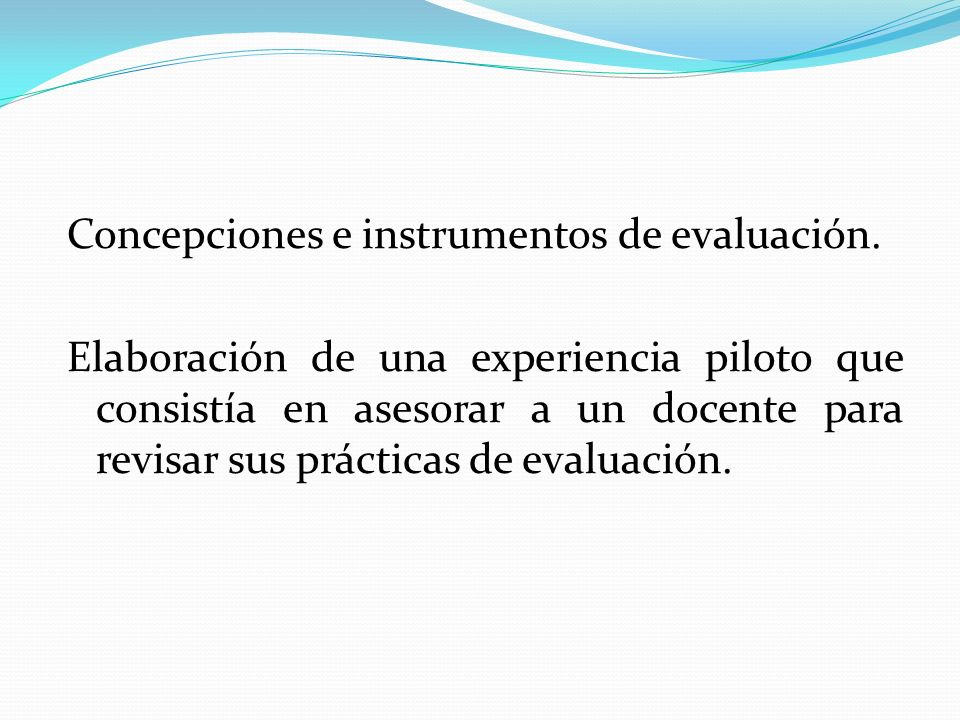 Concepciones e instrumentos de evaluación.