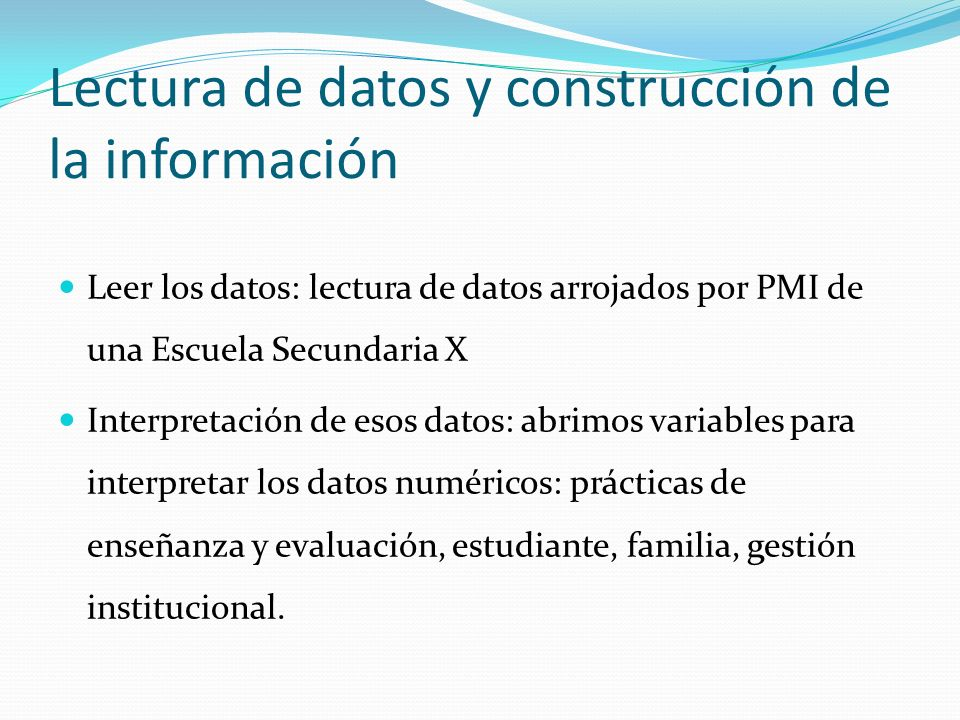 Lectura de datos y construcción de la información