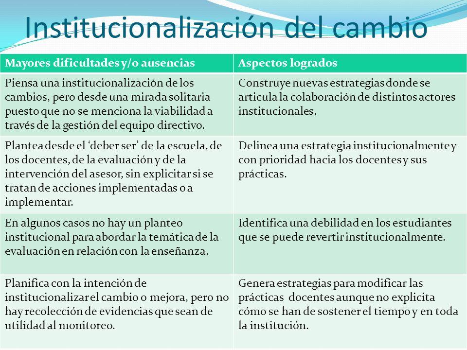 Institucionalización del cambio