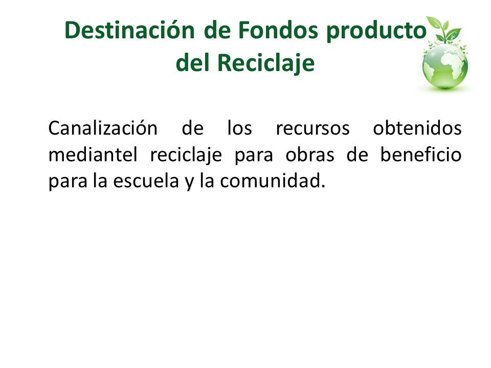 Destinación de Fondos producto del Reciclaje