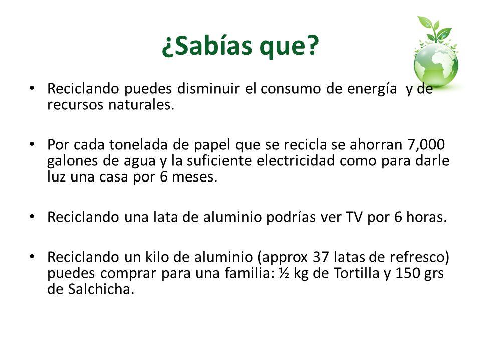 ¿Sabías que Reciclando puedes disminuir el consumo de energía y de recursos naturales.