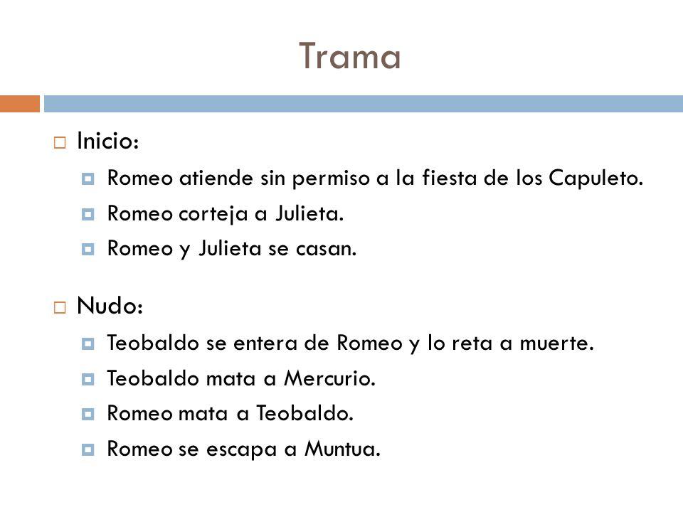 Trama Inicio: Romeo atiende sin permiso a la fiesta de los Capuleto. Romeo corteja a Julieta. Romeo y Julieta se casan.