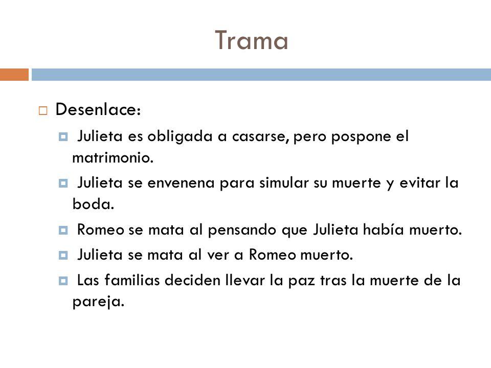 Trama Desenlace: Julieta es obligada a casarse, pero pospone el matrimonio. Julieta se envenena para simular su muerte y evitar la boda.