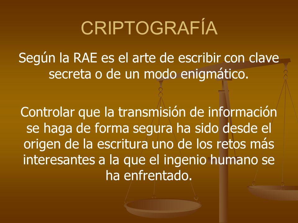 CRIPTOGRAFÍA Según la RAE es el arte de escribir con clave secreta o de un modo enigmático.