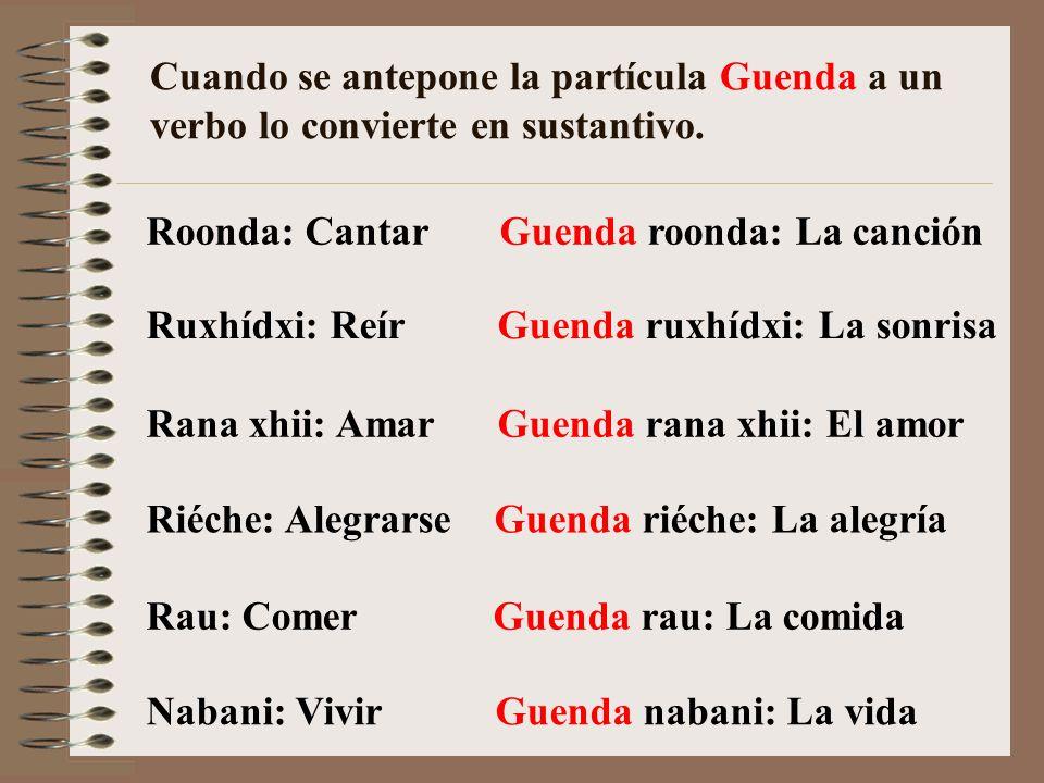 Cuando se antepone la partícula Guenda a un verbo lo convierte en sustantivo.
