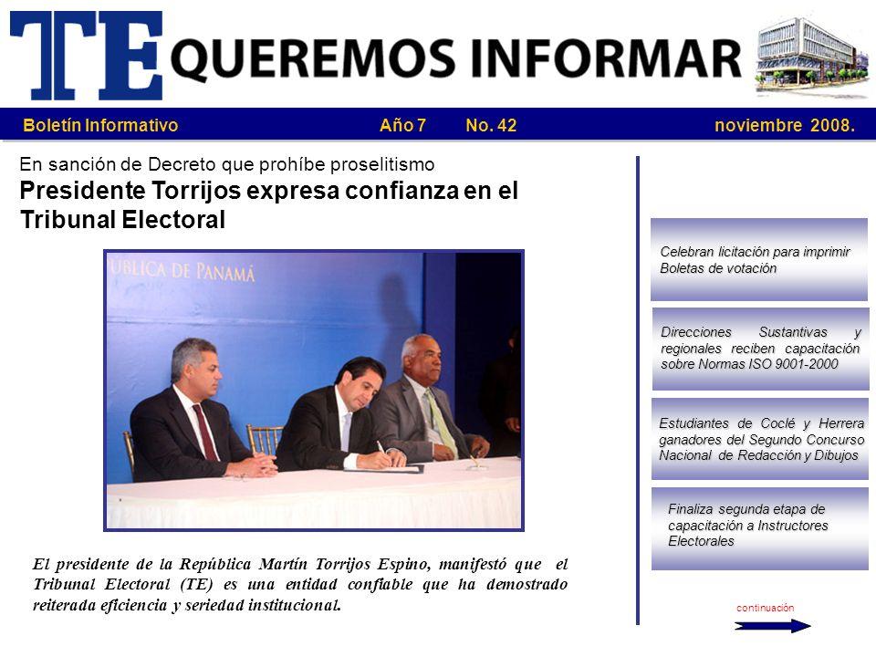 Presidente Torrijos expresa confianza en el Tribunal Electoral
