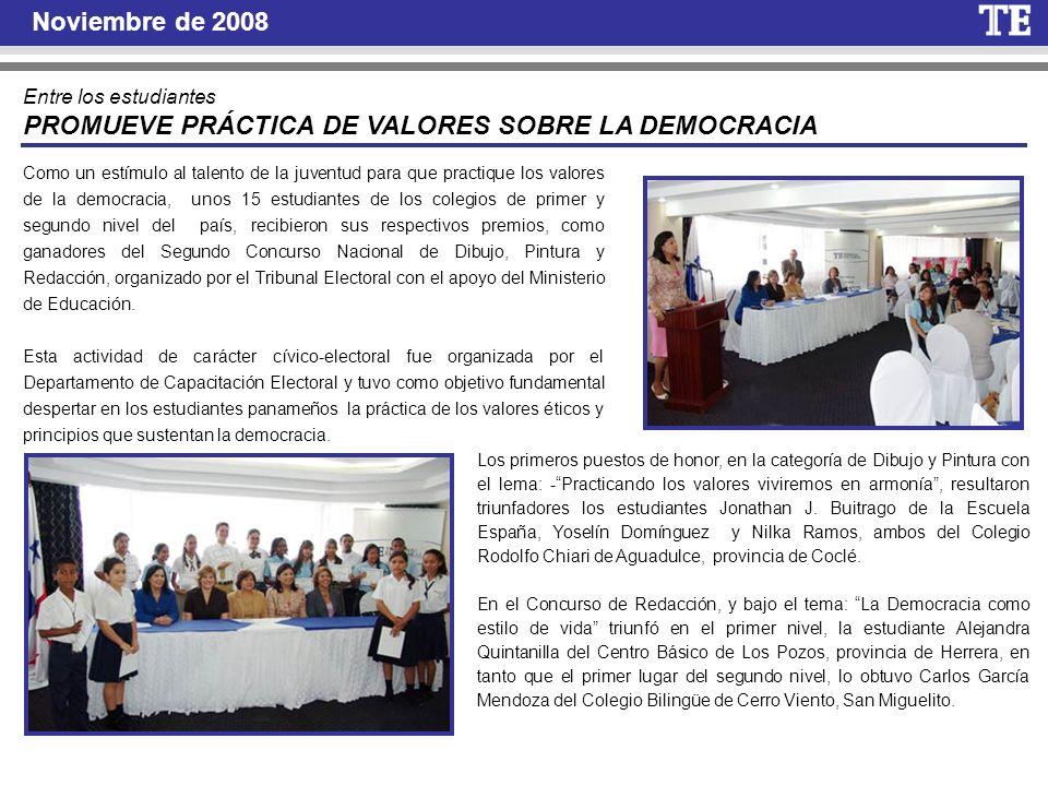 PROMUEVE PRÁCTICA DE VALORES SOBRE LA DEMOCRACIA