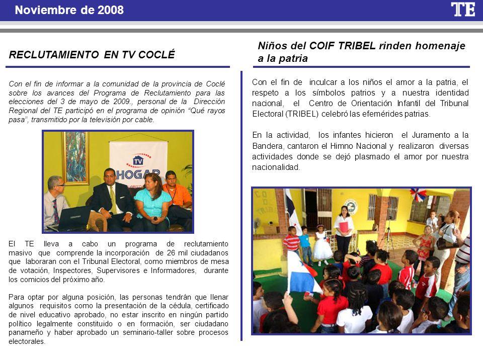 Noviembre de 2008 Niños del COIF TRIBEL rinden homenaje a la patria