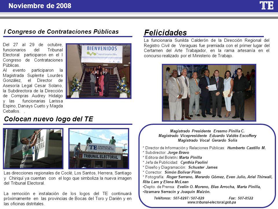 Felicidades Noviembre de 2008 Colocan nuevo logo del TE