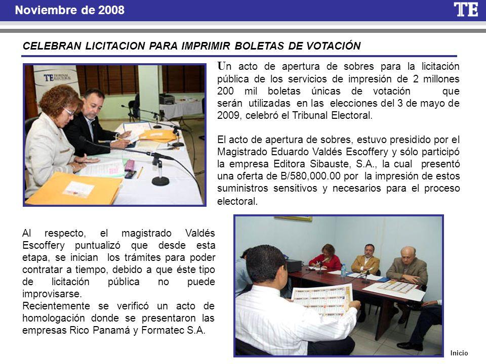 Noviembre de 2008 CELEBRAN LICITACION PARA IMPRIMIR BOLETAS DE VOTACIÓN.