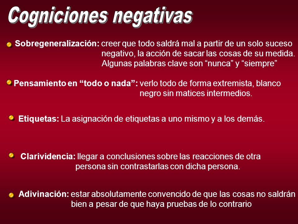 Cogniciones negativas