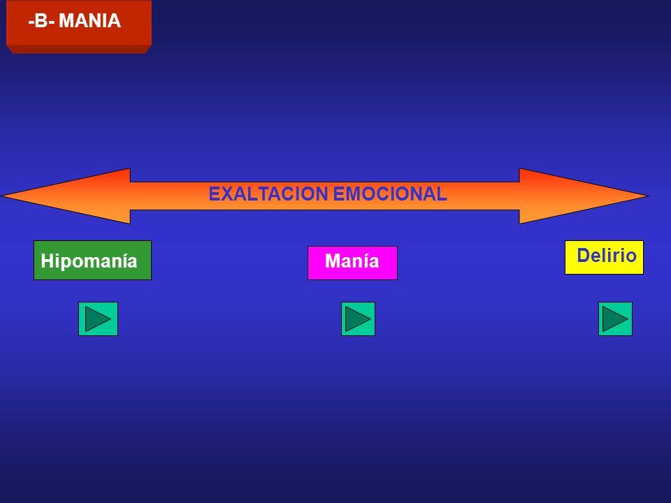 -B- MANIA EXALTACION EMOCIONAL Hipomanía Delirio Manía