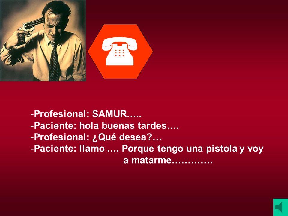  Profesional: SAMUR….. Paciente: hola buenas tardes….