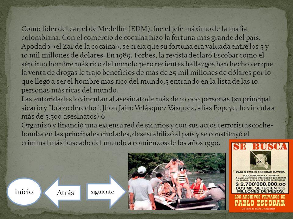 Como líder del cartel de Medellín (EDM), fue el jefe máximo de la mafia colombiana. Con el comercio de cocaína hizo la fortuna más grande del país. Apodado «el Zar de la cocaína», se creía que su fortuna era valuada entre los 5 y 10 mil millones de dólares. En 1989, Forbes, la revista declaró Escobar como el séptimo hombre más rico del mundo pero recientes hallazgos han hecho ver que la venta de drogas le trajo beneficios de más de 25 mil millones de dólares por lo que llegó a ser el hombre más rico del mundo,5 entrando en la lista de las 10 personas más ricas del mundo.