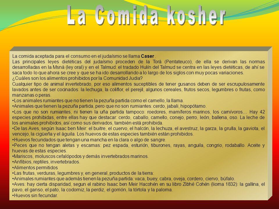 La Comida kosher La comida aceptada para el consumo en el judaísmo se llama Caser .