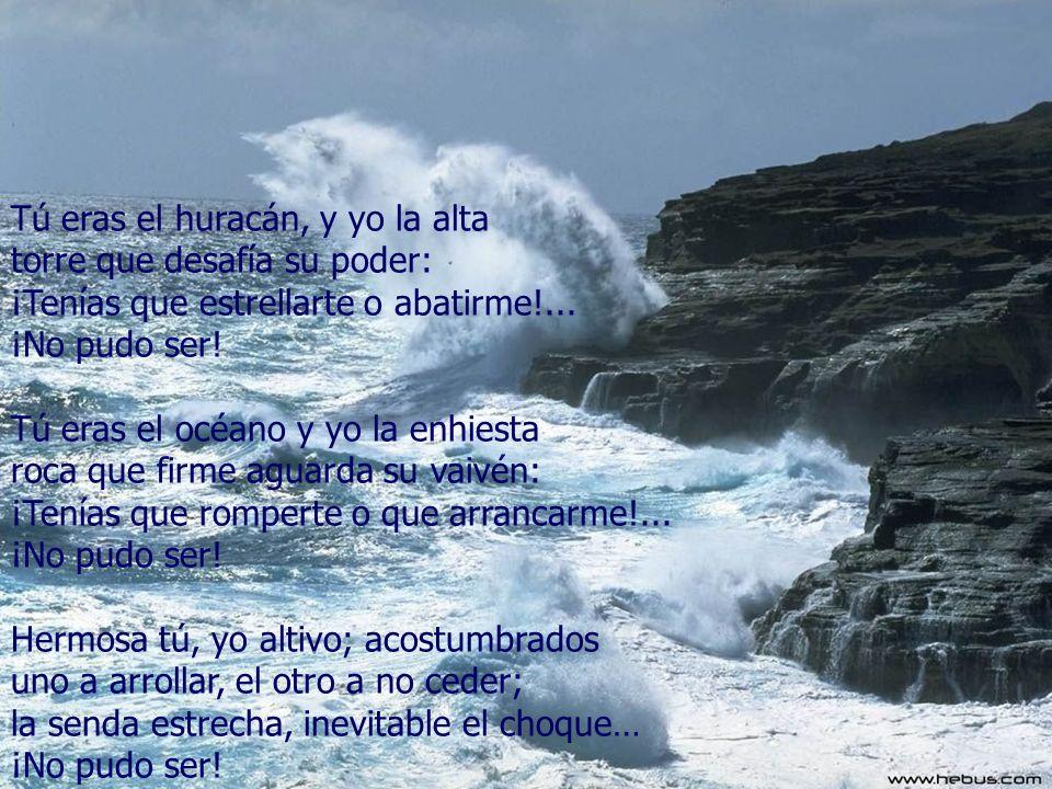 Tú eras el huracán, y yo la alta torre que desafía su poder: ¡Tenías que estrellarte o abatirme!...