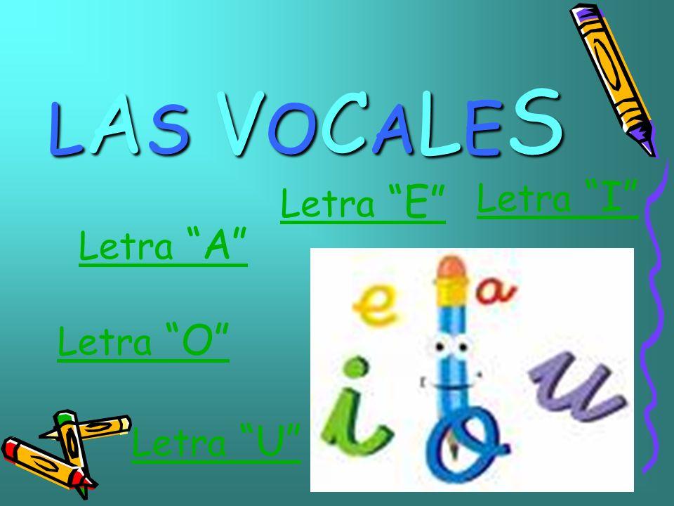 LAS VOCALES Letra I Letra E Letra A Letra O Letra U