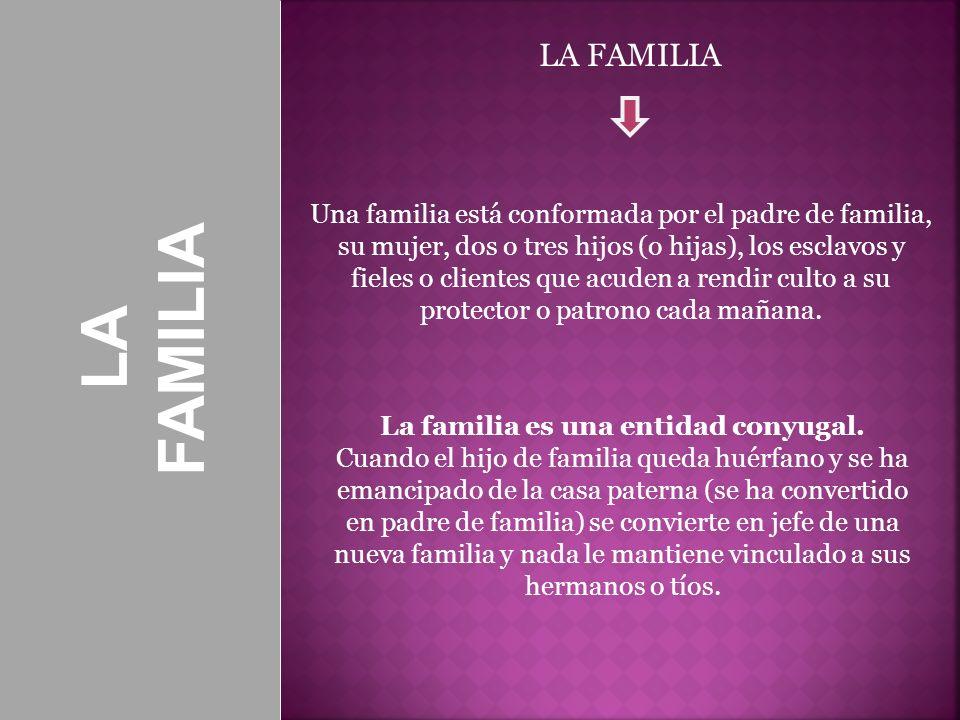 La familia es una entidad conyugal.