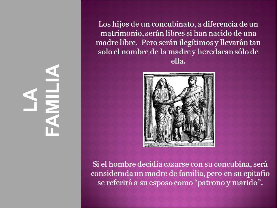 Los hijos de un concubinato, a diferencia de un matrimonio, serán libres si han nacido de una madre libre. Pero serán ilegítimos y llevarán tan solo el nombre de la madre y heredaran sólo de ella.