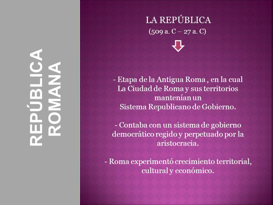 REPÚBLICA ROMANA LA REPÚBLICA - Etapa de la Antigua Roma , en la cual