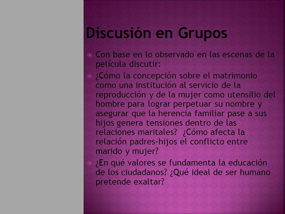 Discusión en Grupos Con base en lo observado en las escenas de la película discutir: