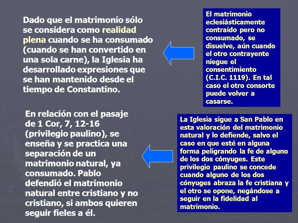 El matrimonio eclesiásticamente contraído pero no consumado, se disuelve, aún cuando el otro contrayente niegue el consentimiento (C.I.C. 1119). En tal caso el otro consorte puede volver a casarse.