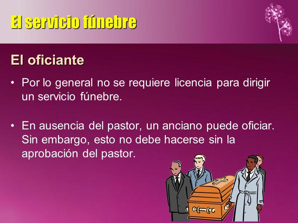 El servicio fúnebre El oficiante