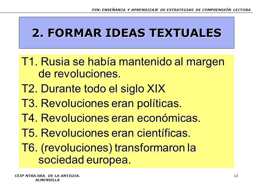 2. FORMAR IDEAS TEXTUALES CEIP NTRA.SRA. DE LA ANTIGUA. ALMENSILLA