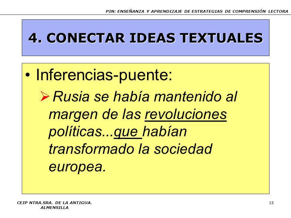 4. CONECTAR IDEAS TEXTUALES CEIP NTRA.SRA. DE LA ANTIGUA. ALMENSILLA