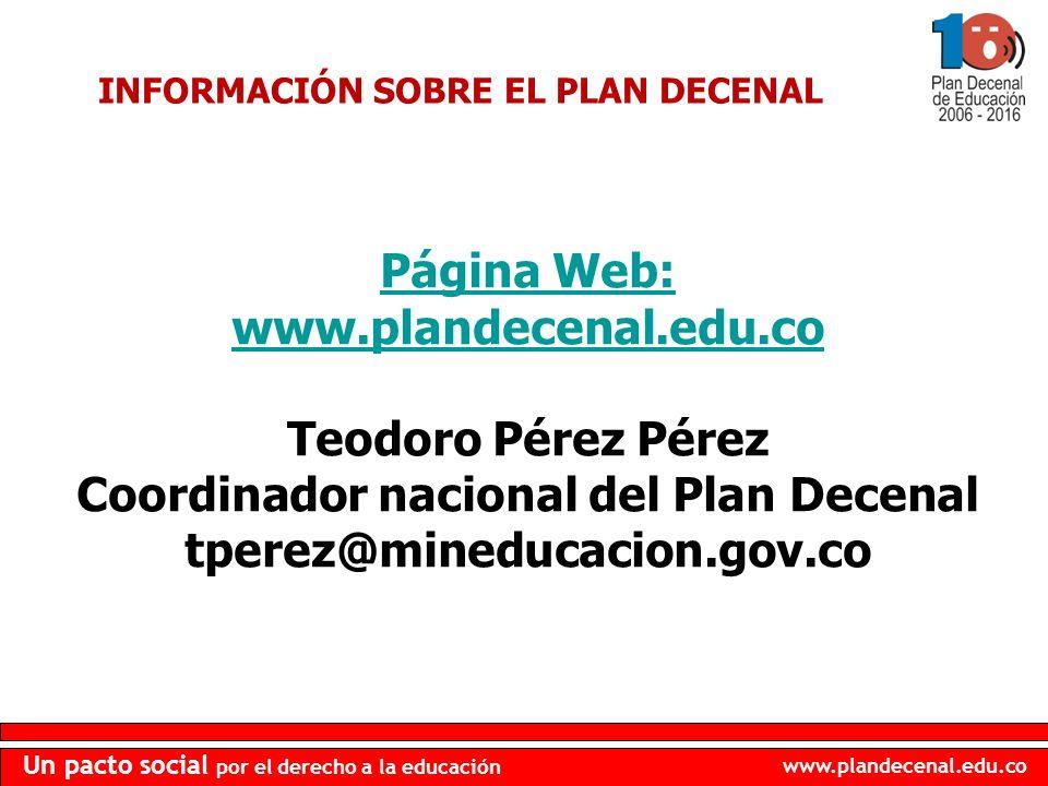 Coordinador nacional del Plan Decenal tperez@mineducacion.gov.co