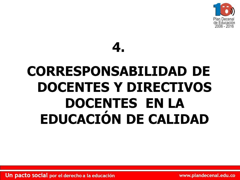 4. CORRESPONSABILIDAD DE DOCENTES Y DIRECTIVOS DOCENTES EN LA EDUCACIÓN DE CALIDAD
