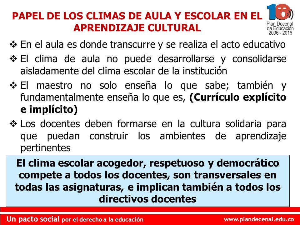 PAPEL DE LOS CLIMAS DE AULA Y ESCOLAR EN EL APRENDIZAJE CULTURAL