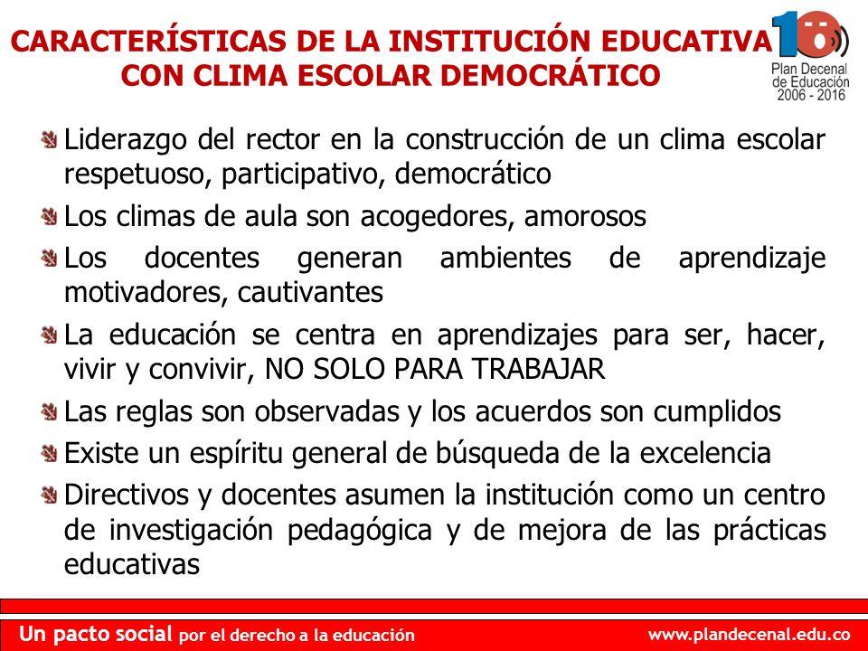 CARACTERÍSTICAS DE LA INSTITUCIÓN EDUCATIVA CON CLIMA ESCOLAR DEMOCRÁTICO