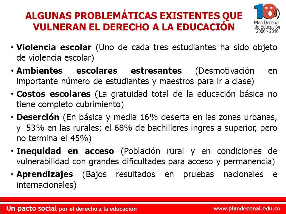ALGUNAS PROBLEMÁTICAS EXISTENTES QUE VULNERAN EL DERECHO A LA EDUCACIÓN