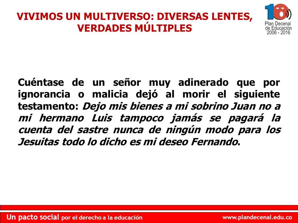 VIVIMOS UN MULTIVERSO: DIVERSAS LENTES, VERDADES MÚLTIPLES