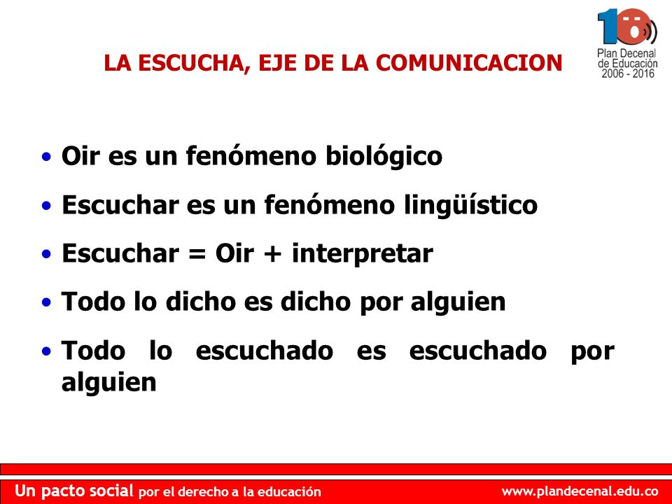 LA ESCUCHA, EJE DE LA COMUNICACION